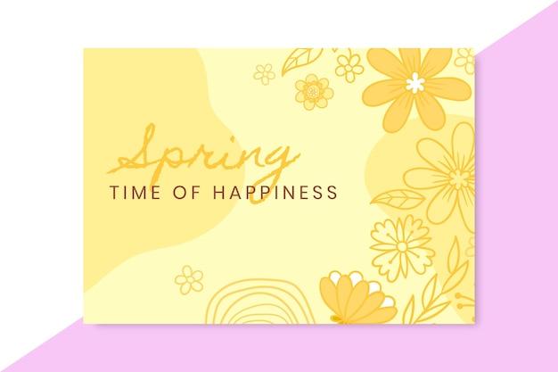 Doodle monochromatyczna karta wiosny