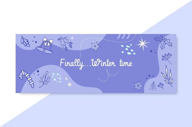Doodle monokolorowa zimowa okładka na facebooku