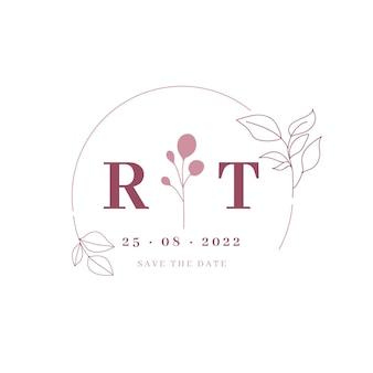 Doodle monokolorowe logo ślubne