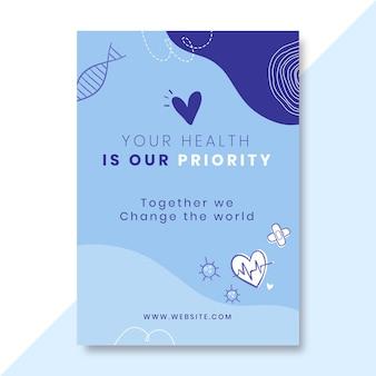 Doodle monokolorowy plakat medyczny