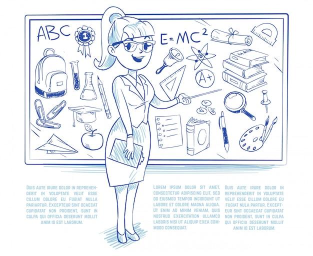 Doodle nauczyciel uczący studentów na lekcji