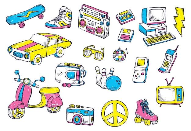 Doodle obiektów retro