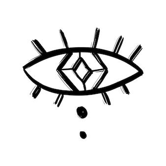 Doodle oczy ręcznie rysowane zestaw. mistyczne symbole kolekcja boho. złe oko, półksiężyc i kryształy sztuki. ilustracja wektorowa