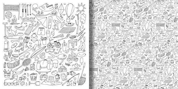 Doodle odpocznij w zestawie natury i bez szwu wzór