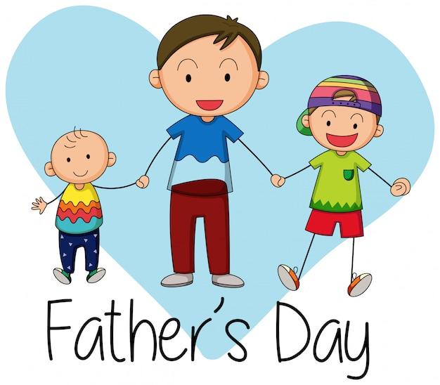 Doodle ojca z dziećmi