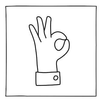 Doodle ok gest ikona lub logo, ręcznie rysowane z cienką czarną linią.