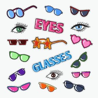 Doodle okularów z okularami przeciwsłonecznymi i oczami