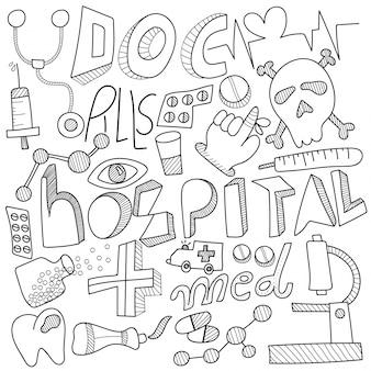 Doodle opieki zdrowotnej, z czarno-białymi znakami firmowymi, symbolami i ikonami.