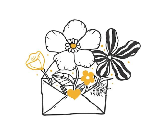 Doodle otwarta koperta pełna kwiatów