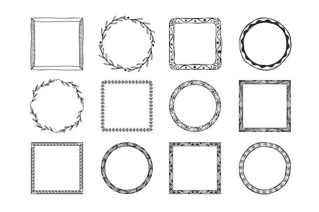 Doodle ozdoba ramki ręcznie rysowane opakowanie