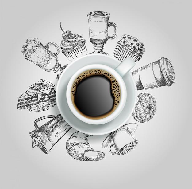 Doodle pączek, ciasto, ciastko, rogalik i napoje kawowe