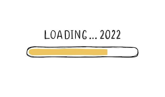 Doodle paska ładowania nowego roku 2022. boże narodzenie wkrótce, koncepcja paska obciążenia na koniec roku. ręcznie rysowane styl szkicu linii. ilustracja na białym tle wektor.
