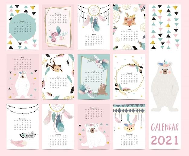 Doodle pastelowy zestaw boho z kalendarzem 2021 z piórkiem, złotym wzorem geometrycznym, misiem, łapaczem snów dla dzieci. może być używany do grafiki do druku.