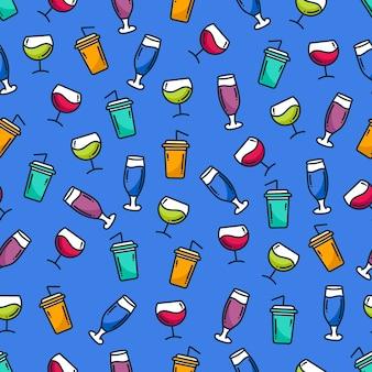 Doodle patern napój