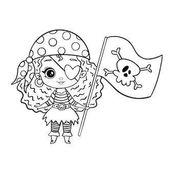 Doodle pirat styl dziewczyna na białym tle. kolorowanka piracka dziewczyna