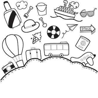 Doodle podróży wakacje z pole tekstowe wektor wzór