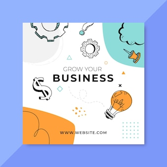 Doodle post kolorowy biznes na instagramie