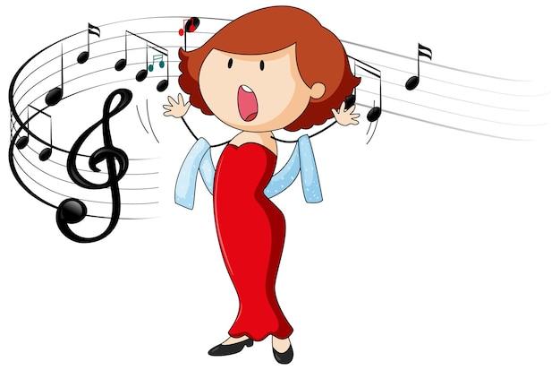 Doodle postać z kreskówki piosenkarki śpiewającej z symbolami muzycznej melodii