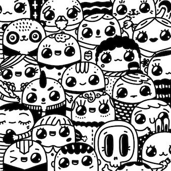 Doodle postaci z kreskówek kawaii. ręcznie rysowane sztuki śmieszne ludzie i zwierzęta, kolorowanka, czarno-biały ilustracja.