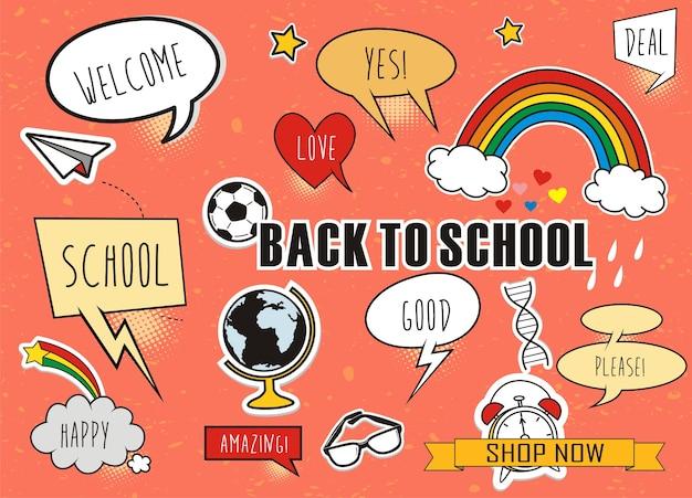 Doodle powrót do szkoły zestaw kolorowych