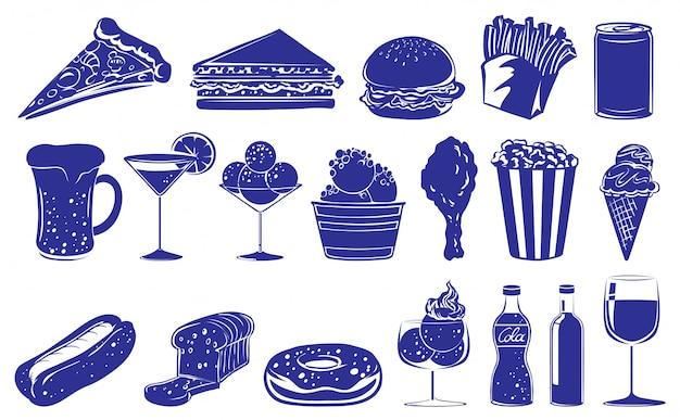 Doodle projekt różnych produktów spożywczych i napojów