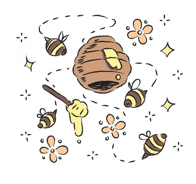Doodle pszczoła i plaster miodu. pszczoła i plaster miodu