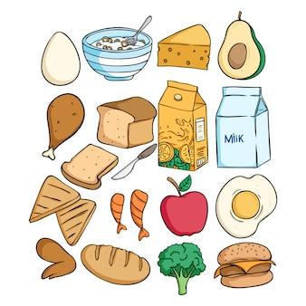 Doodle pyszne jedzenie śniadanie kolekcja