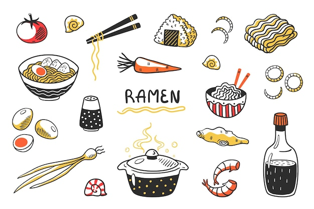 Doodle ramen. chiński ręcznie rysowane zupa z makaronem z żywności kije miski i składniki. zestaw szkiców kuchni azjatyckiej z makaronem jajecznym i innymi produktami do gotowania