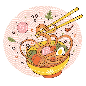 Doodle ramen makaron miska orientalna japońska tradycyjna kuchnia. ręcznie rysowane mięso bulion smaczny ramen makaron danie ilustracji wektorowych. azjatycka miska do ramenu z jajkiem i grzybami, pałeczki