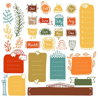 Doodle ramki i elementy do dziennika bullet journal notebooka lub planera
