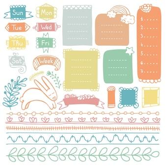 Doodle ramki i elementy dziennika punktorów, notatnika, pamiętnika lub planera
