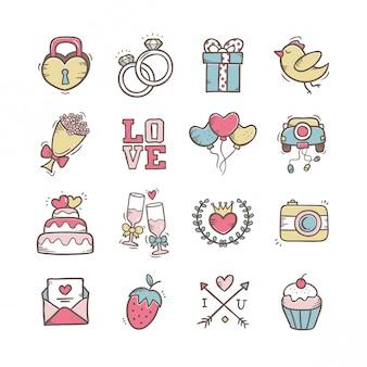 Doodle ręcznie rysowane ikony ślubu