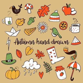 Doodle ręcznie rysowane jesień