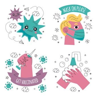 Doodle Ręcznie Rysowane Kolekcja Ilustracji Naklejek Koronawirusa Premium Wektorów