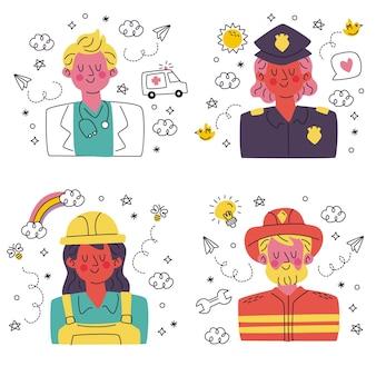 Doodle ręcznie rysowane kolekcja naklejek z awatarami
