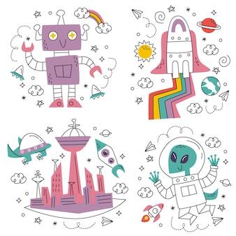 Doodle ręcznie rysowane naklejki science fiction