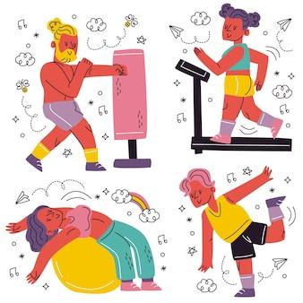 Doodle ręcznie rysowane naklejki treningowe