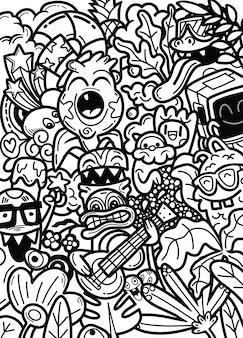 Doodle ręcznie rysowane potwory