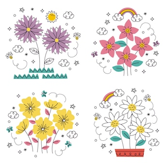Doodle ręcznie rysowane zestaw naklejek z kwiatami i roślinami