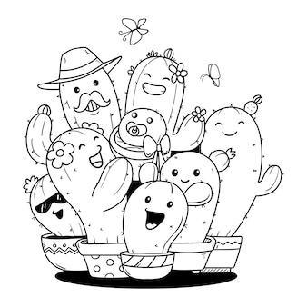 Doodle rodziny kaktusów