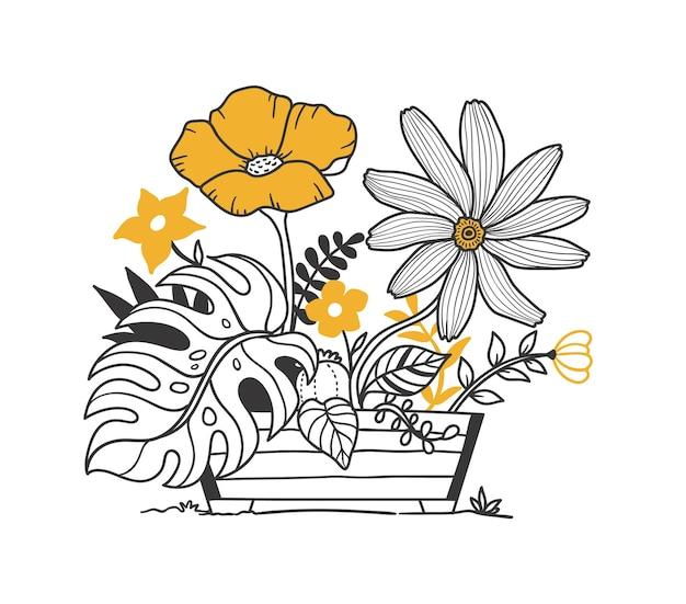 Doodle roślin i kwiatów w drewnianych doniczkach