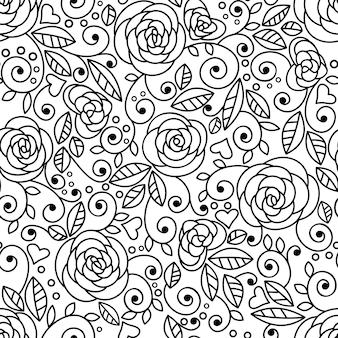 Doodle róże bezszwowe wzór lineart