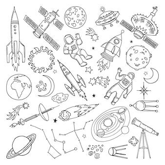 Doodle różne elementy wszechświata