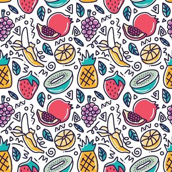 Doodle różne rysunek ręka zbiór owoców z ikonami i elementami projektu