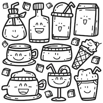 Doodle różnych napojów