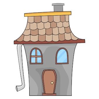 Doodle rysunek przerażającego starożytnego domu