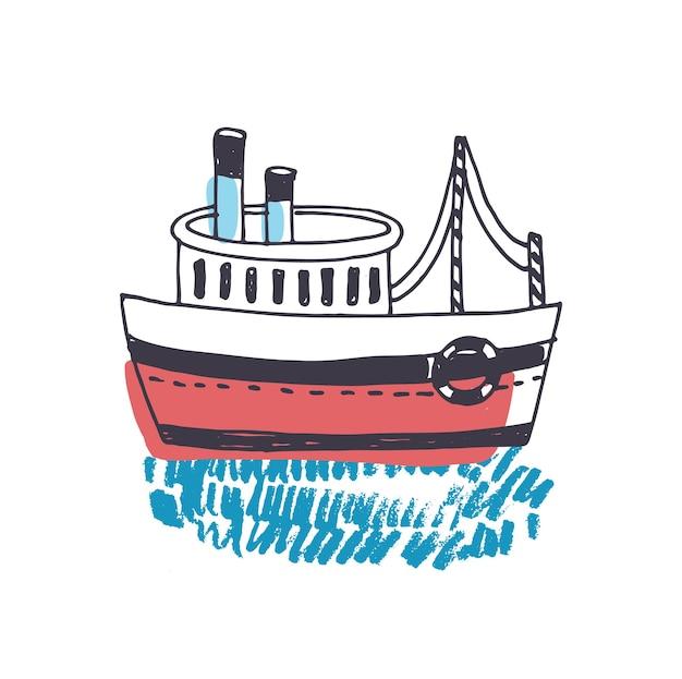 Doodle rysunek statku pasażerskiego, statku morskiego, turystycznych jednostek pływających lub łodzi pływających na falach oceanu na białym tle. podróż morska lub wycieczka. kolorowe ręcznie rysowane ilustracji wektorowych.
