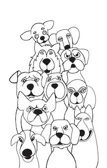 Doodle rysunek strony śmieszne psy