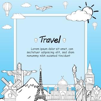 Doodle samolot na całym świecie latem samolot antenowy banner.
