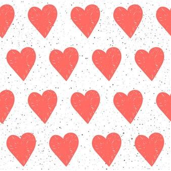 Doodle serca bezszwowe tło. abstrakcyjny wzór dziecięcego różowego serca na projekt koszulki, kartki ślubnej, zaproszenia ślubnego, plakatu walentynkowego, broszur, albumu, albumu itp.